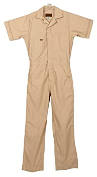 Five Rock Poplin Short Sleeve Unlined Coveralls Relaxed Fit in Tan 5XL Tall