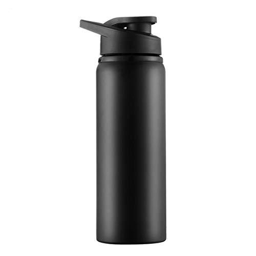 Hyutyr Botella de agua con tapa de chug – boca ancha aislada al vacío de acero inoxidable con recubrimiento en polvo – 25 oz negro