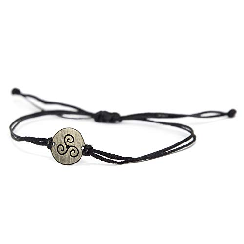 Stainless Steel Triskelion Charm on Double Black String Adjustable Bracelet for Men and Women - Waterproof, Hypoallergenic Jewelry