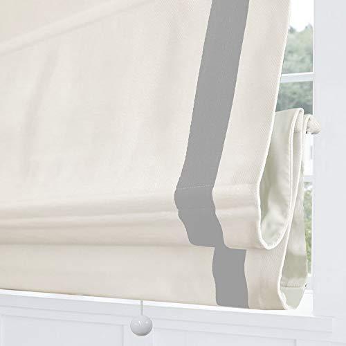 Cordless Roman Shades Window Blinds, White Light Grey Premium Blackout Roman Window Shades, Custom Washable Fabric Roman Shades for Windows, Doors, French Doors, Kitchen Windows (1 Piece)