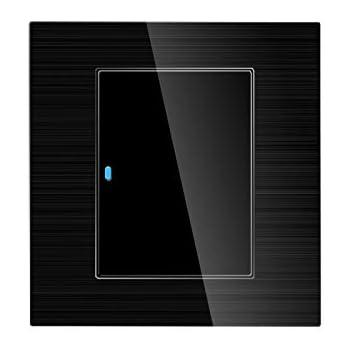 AUKEY Interrupteur Tactile Blanc Chambre /à Coucher Interrupteur d/Écran Tactile avec Panneau de Verre Cristal et Indicateur LED pour Salle de Bains
