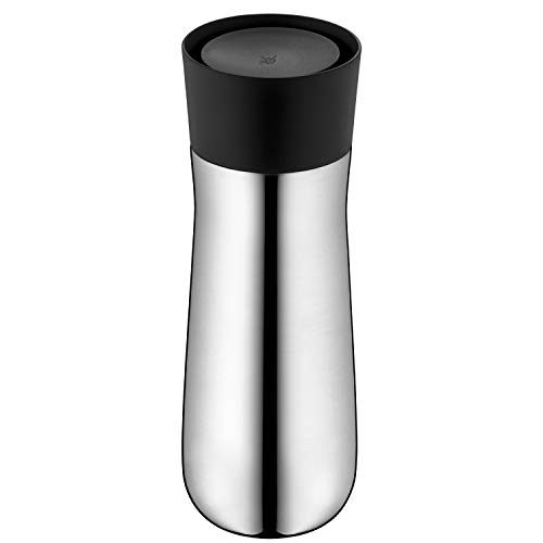WMF Impulse Isolierbecher 350 ml, Thermobecher mit Automatikverschluss, 360°-Trinköffnung, hält Getränke 8h heiß/12h kalt, silber