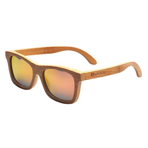 Iwood Handcrafted Moda de bambú carbonizado Marcos Rojo Lente polarizada Gafas de Sol de Madera