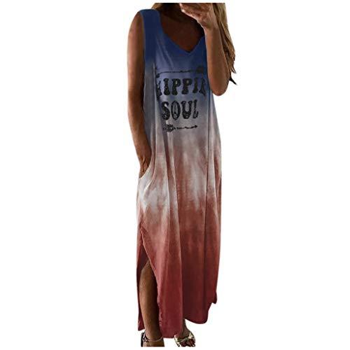 AmyGline Lange Kleider Damen Sommerkleid Ärmellos Rundhals Hippie Soul Brief Gedruckt Casual Täglich Boho Langes Maxi Kleid Strandkleid Freizeitkleid