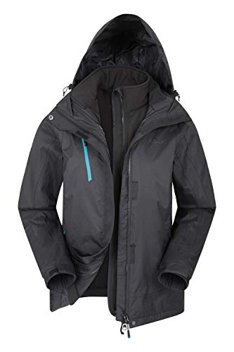 Mountain Warehouse Bracken Wasserfeste 3 in 1 Damen Winterjacke, Warmer Fleecejacke, Regenjacke, Damenjacke, Funktionsjacke, Allwetterjacke Schwarz Jet 42