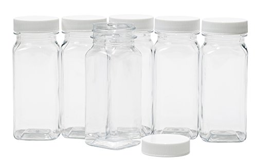 Baire Bottles Clear Plastic Square Bottles - 4 Ounce Containers, 6-Pack -...