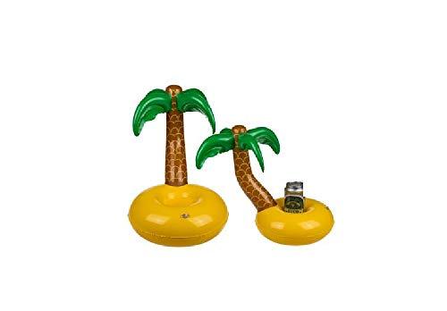 Getränkehalter Getränkekühler Palme aufblasbar für den Pool Schwimmender Bierhalter Badespielzeug Party Deko Untersetzer für Bier Getränke Saft geeignet für Poolparty Grillabend Camping Garten
