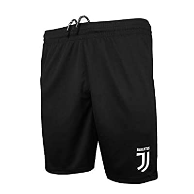 Icon Sports Mens Logo Soccer Shorts UEFA Champions League Soccer Juventus, Black, Large