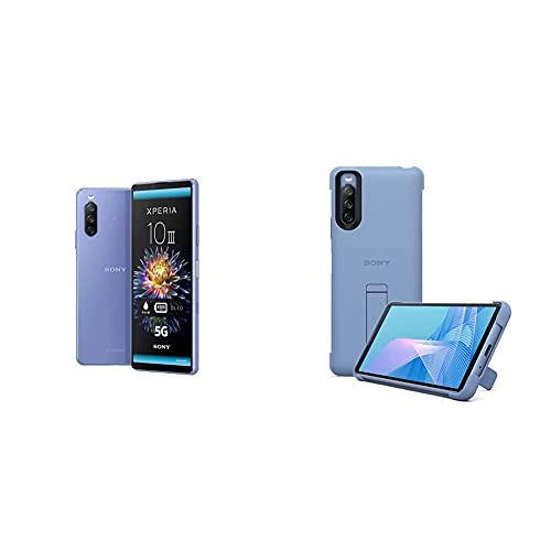 Sony Xperia 10 III Smartphone (15,2 cm 21:9 Wide Full HD+ OLED Display, Triple-Kamera System, Android 11 SIM Free, 6 GB RAM, 128 GB Speicher) + Stilvolles Cover mit Standfuß für das Xperia 10 III