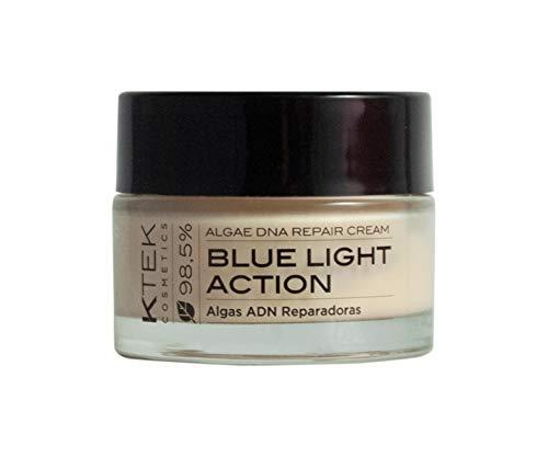 Crema facial vegana antiarrugas Blue light, con novedoso activo procedente de microalgas, para todo tipo de pieles, cara y cuello, 100% ingredientes veganos, piel luminosa, hidratada. 50 ml