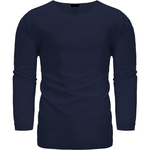 Camisa de Manga Larga con Cuello en V para Hombre Camisa clásica Holgada cómoda de Todo fósforo de Moda de Color sólido de Gran tamaño 3XL