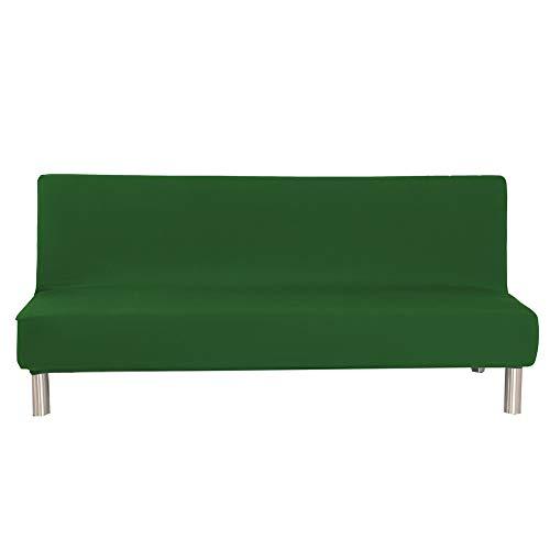 Sofabezug Ohne Armlehnen 3 Sitzer, Spandex Couch Bezug Ohne Armlehne Elastischer Antirutsch Stretchhusse, Bettcouch Schonbezug Einfarbig (Grün)