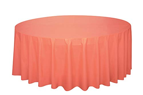Round Coral Plastic Tablecloth, 84""
