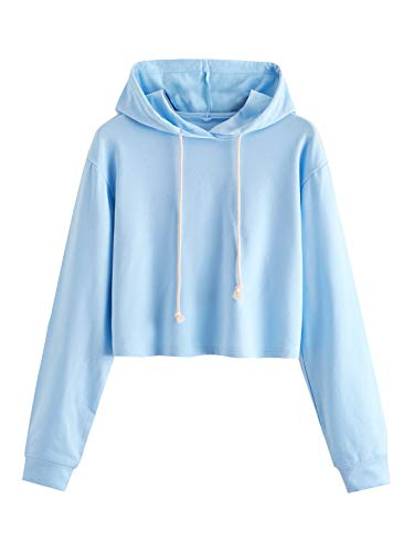 MAKEMECHIC Women's Casual Long Sleeve Pullover Hoodies Crop Tops Sweatshirt A Blue S