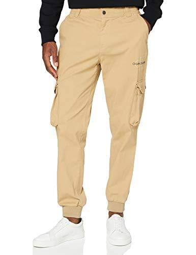 Calvin Klein Jeans Herren Cargo Slim Mixed Med Cuffed Hose, Grau (Travertine PF2), W30 (Herstellergröße: Small)