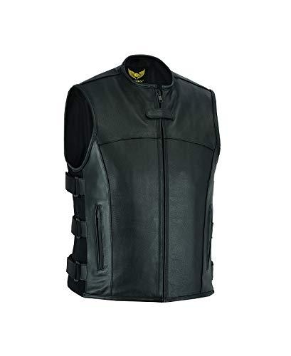 Leatherick Herren Motorrad Swat Style Taktische Lederweste Biker Weste