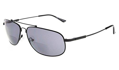Eyekepper Bifocal Lezen Zonnebril buigzaam, opslag voor zones, dames en heren +3.50 Zwart frame grijs lens