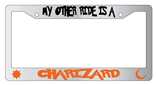 License Plate Frames, My Other Ride Is A Charizard METAL License Plate Frame Pokemon Applicable to Standard car Rust-Proof Rattle-Proof Weather-Proof License Plate Frame Cover 15x30cm