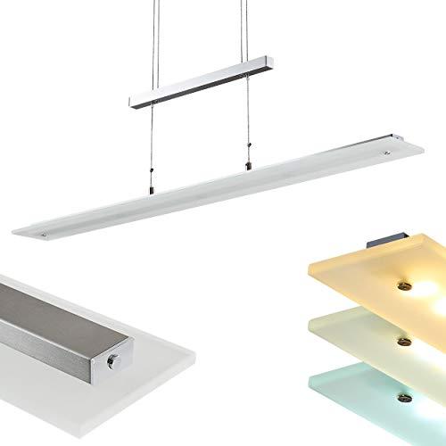 LED-Pendelleuchte Junsele mit dimmbarem Licht – Helligkeit zwischen 3000-6500 K einstellbar - Längliche Hängelampe 1-flammig für Esszimmer, Wohnzimmer – Pendellampe höhenverstellbar mit Glas Schirm