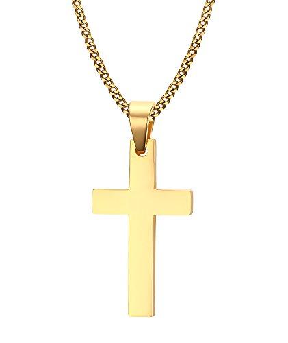 VNOX Hombres de Acero Inoxidable Sencilla Cruz Cruzada Collar con 60cm de Cadena de Oro Cubano