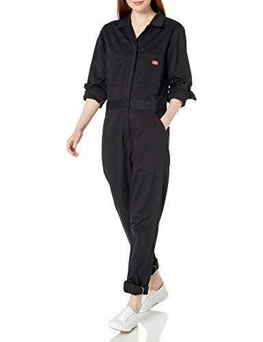 Dickies Women's Long Sleeve Cotton Twill Coverall, Black, Small