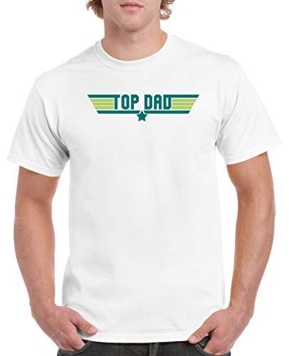 Comedy Shirts - Top Dad - Herren T-Shirt - Weiss/Türkis-Hellgrün Gr. S