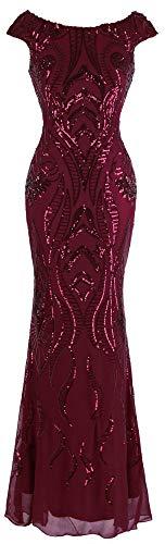 Angel-fashions Damen Bateau Uberwurfhulse Blumen Paillette Mantel V Zuruck Abendkleid (X-Large, rot)
