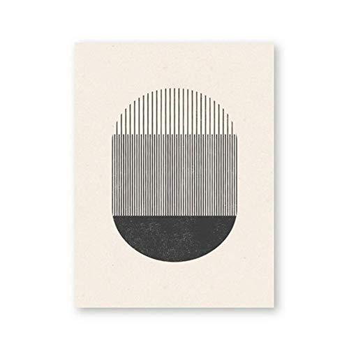 Halverwege de eeuw stijl houten blok druk een spel met geometrische vormen en lijnen Poster Canvas Schilderij Foto Home Wall Art Decor-50x70cm Geen frame