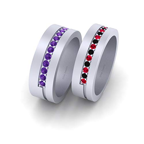 Joker and Harley Quinn Inspired Wedding Band Set Solid 925 Sterling Silver His and Her Matching Couple Bands