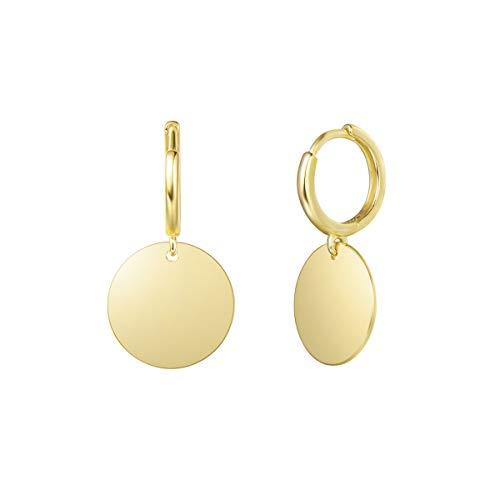 FANCIME 925 Sterling Silber mit Gelb Gold Plattiert Creolen Ohrringe Hängend Klein Ohrhänger mit Hochglanzpoliert Funkelnde Runde Münze Anhänger für Damen Mädchen Kinder - Größe: 28 * 15 mm