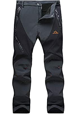 MAGCOMSEN Snow Pants Men Waterproof Pants Softshell Hiking Pants Mens Winter Pants for Men Fleece Lined Pants Ski Pants Warm Pants