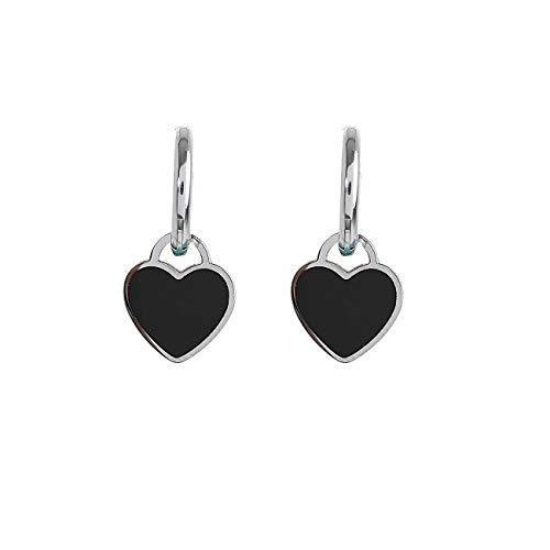 Pendientes con diseño de corazón con diadema y corazón de colores Negro