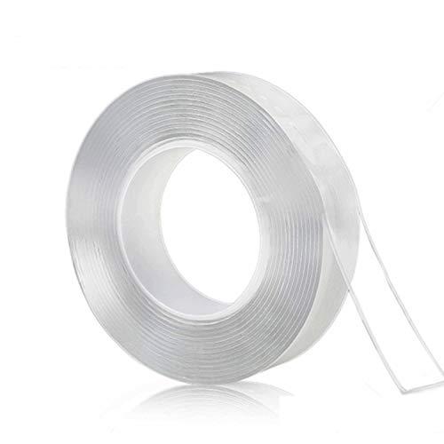 テープ 両面テープ 超強力魔法テープ 多機能テープ のり残らず はがせるテープ 透明 防水 洗濯可能 で繰り返し利用可能 滑り止めテープ 耐熱 家庭 オフィス 寮 (1M×3CM×2MM)