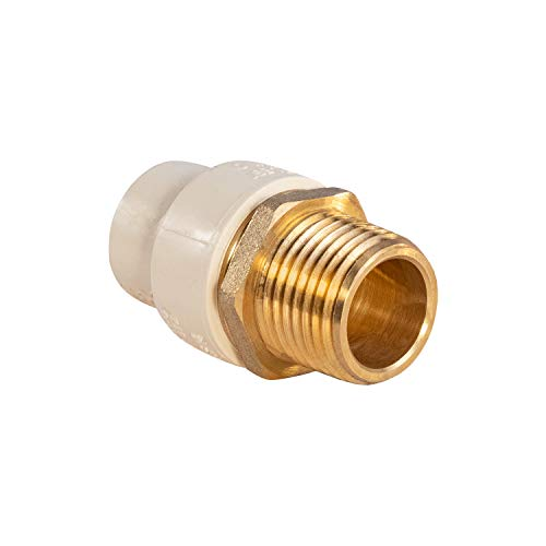 Supply Giant CSDQN056 Male x PVC Adapter Transition Pipe Fitting Durable Over Molded One-Piece Design 3/4 in. Lead Free Brass