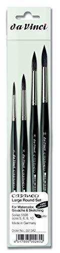 da Vinci Brushes Casaneo 5598 Künstlerpinsel-Set, groß, rund, Größen 5, 6, 8, 10, Schwarz, 4