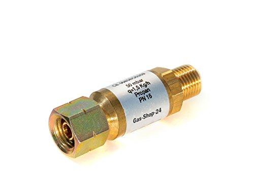 Gas Schlauchbruchsicherung 50 mbar - 1,5 kg/h - 1/4
