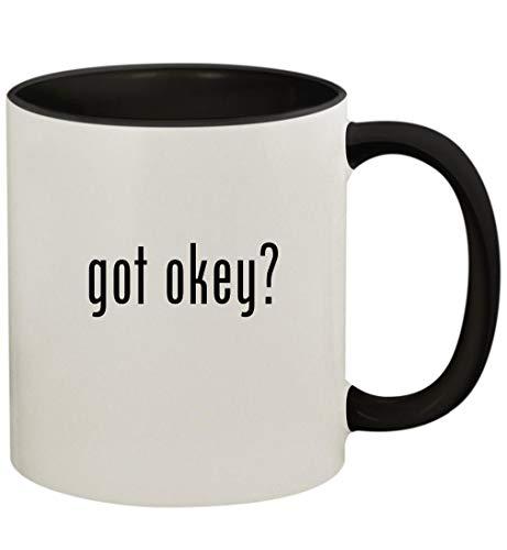 got okey? - 11oz Ceramic Colored Handle and Inside Coffee Mug Cup, Black