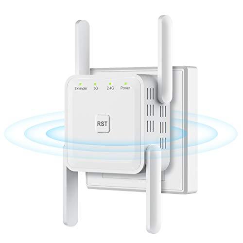 WLAN Verstärker WLAN Repeater 1200Mbit/s WiFi Repeater mit AP Modus/Repeater/Router, 5GHz/867Mbit/s 2,4GHz/300Mbit/s, Kompatibel zu Allen WLAN Geräten