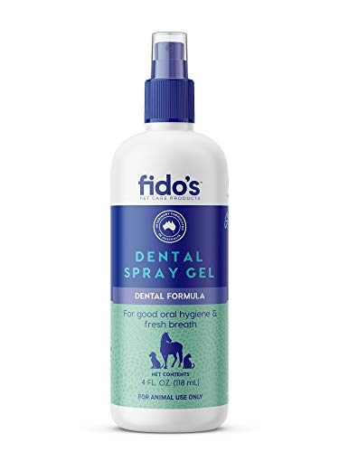 Fido's Dental Spray Gel; Teeth and Gums Protection for Pets, Dogs, Cats, Puppies & Kittens, Supplement/Replacement for Brushing and Scaling, Oral hygeine and Fresh Breath, Controls Gingivitis (4 Oz)