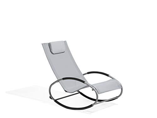 Beliani Moderner Schaukelstuhl Textilenne/Metall grau Campo