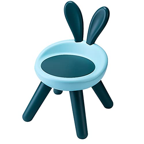 RWEAONT Taburete Infantil Lindo Conejo Atrás Silla pequeña Familia Creativa Kindergarten Baby Heces No resbalón Niños pequeño Silla Mobiliario (Color : Blue Hard Cushion)