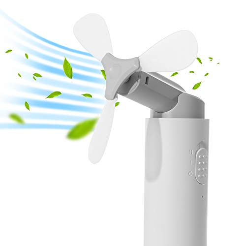 URAQT Mini Faltbarer Fan, Mini Aufladbare Batterie Lüfter, Wieder aufladbarer Handventilator mit Power Bank für Büro, Haus, Reisen und Camping, Weiß