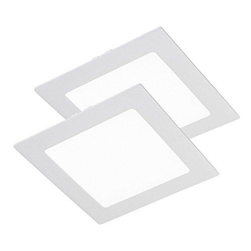 Wonderlamp W-E000048 - Pack 2 x Downlight LED extraplano cuadrado blanco, iluminacion led 18W (1450 lm), 6000K (luz fría). Plafón de techo., aluminio