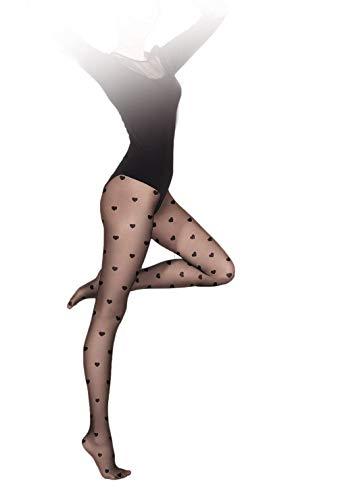 Gatta Damen Feinstrumpfhose mit Muster 20den (429-08) - Damen Strumpfhose mit Herz Muster gepunktet schwarz - Größe 4-L - Nero