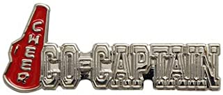 Pack of 5 Cheer Co-Captain Lapel Pins (Silver/Red)