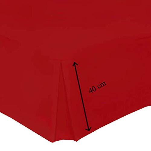 bemode Base Valance Hojas Pleated 40 cm/16 Plain Dyed Solid Color Easy Care Hotel Calidad polialgodón Ropa de Cama tamaños (Rojo – Super King)