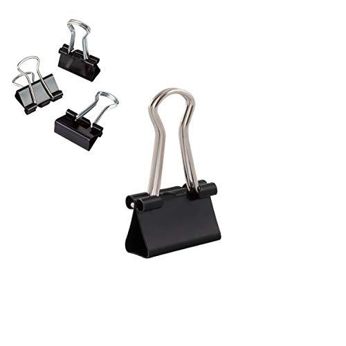 D.RECT Metal Foldbackklammern | Verpackung 12 Stück, 15mm | Schwarz | Vielzweckklammern, Metall Binder Clips für: Notizen, Briefpapier | Büroklammern