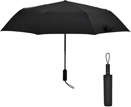 Folding Automatik-Regenschirm for Damen/Herren Travel Compact Dach windproof -Auto offen/geschlossen, 8 Rippen erweiterten Durchmesser: 111cm, Farbe: Schwarz (Color : Black)