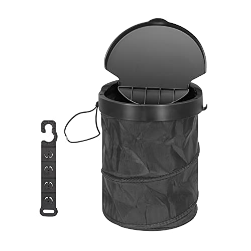 Toplive Car Trash Can, Foldable Car Trash Bin with Lid, Leak-Proof Waterproof Washable Garbage Storage Bag Multifunctional Portable Trash Can Bin with Hanging Hook for Cars/Vehicle/Truck