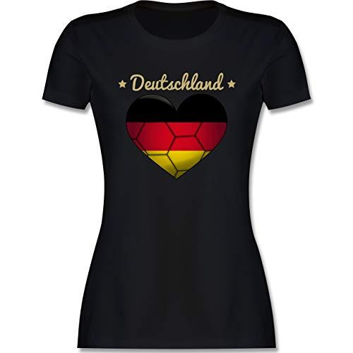 Handball - Handballherz Deutschland - S - Schwarz - Deutschland Tshirt Damen - L191 - Tailliertes Tshirt für Damen und Frauen T-Shirt